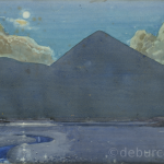 Full Moon at the Reek from Westport quay, Watercolour on board, circa 1940.