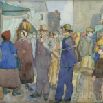 The Market Place, Watercolour on Board, circa 1930.