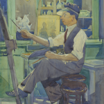 Artist at Work, Dublin, Watercolour on Board, circa 1930.