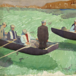 Figures in the Currach, Watercolour on Board, Unsigned, circa. 1950.