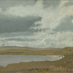 Grey Sky Landscape, Connemara, Oil on Board, circa 1960 .