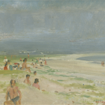 The King Family, Keel Beach, Oil on Board, circa 1950.