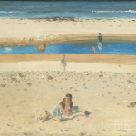 Children playing on Trámore Beach, Keel, Watercolour circa 1950.